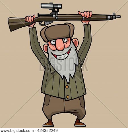 Cartoon Joyful Grandfather With Two Hands Raised The Rifle Above His Head