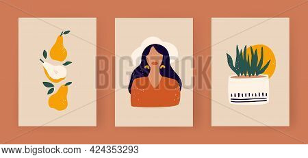 Set Of Contemporary Art Posters In Boho Style. Abstract Boho Trio Pear Plant And Girl. Minimalistic
