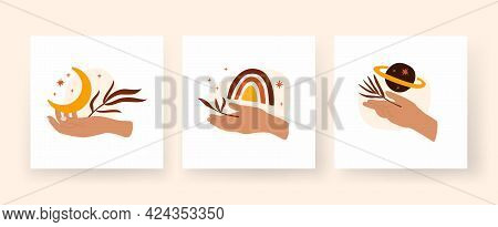 Set Of Modern Boho Style Square Posters With Woman Hands. Hand Holds Branches And Crescent. Minimali