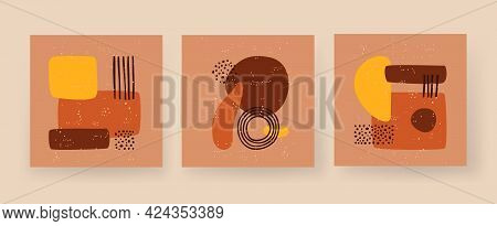Minimalistic Geometric Boho Figures. Abstract Rectangle And Circle An Arch. Square Primitivism In Te