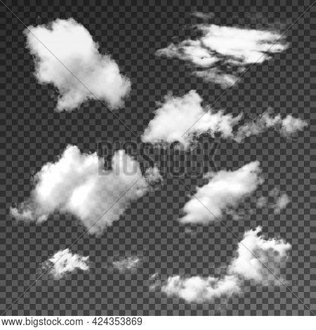 Summer Sunny Weather Cloudscape Realistic Set Vector Illustration.