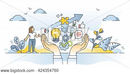 Skills And Competence Set For Professional Career Development Outline Concept. Personal Knowledge An