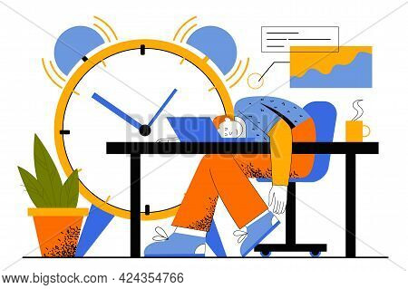 Deadline At Work Web Concept. Employee Sleeping At Workplace, Violating Deadline. Man Dreaming In Of