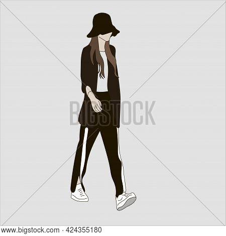 Vector Illustration Of Kpop Street Fashion. Street Idols Of Koreans. Kpop Men's Fashion Idol. A Girl