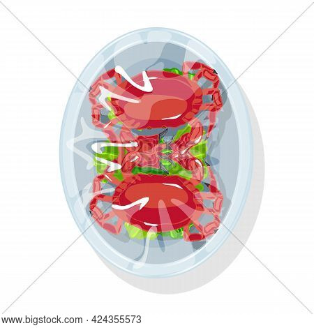 Cartoon Of Fresh Crayfish On Lettuce Packed In Plastic Container. Vector Cooked Big Portion Dinner O
