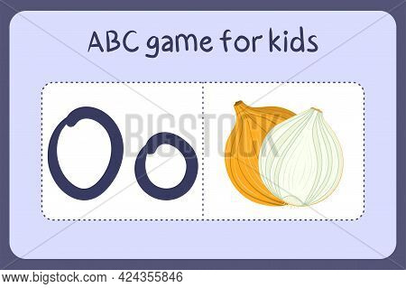 Kid Alphabet Mini Games In Cartoon Style With Letter O - Onion. Vector Illustration For Game Design