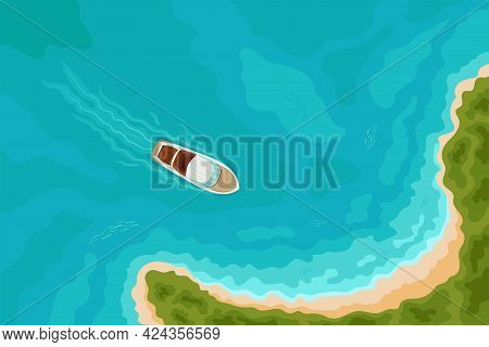 Summer Holiday Background With Speed Boat Sailing To A Sandy Beach On Tropical Island. Top Aerial Vi