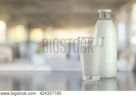 A Bottle And Glass Of Milk On A Tabletop On A Blured Background. 3d Rendering Illustration.