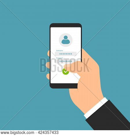 Flat Design Illustration Of Manager Hand Holding Smartphone With White Touch Screen And Login Form F