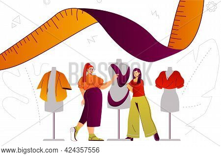 Clothes Designer Studio Web Concept. Fashion Designer Service, Tailoring To Order. People Scene With