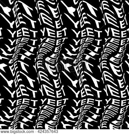 Yeet Word Warped, Distorted, Repeated, And Arranged Into Seamless Pattern Background