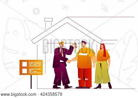 Real Estate Web Concept. Realtor Gives Key To Couple Buying Or Rent New House. People Scene With Fla