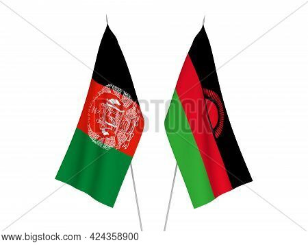 National Fabric Flags Of Malawi And Islamic Republic Of Afghanistan Isolated On White Background. 3d