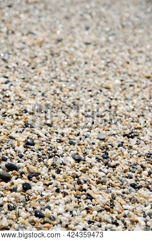 Surface Of The Rocky Beach. Pebble Texture. Sea Stones Of Various Sizes Cover The Seaside. Selective
