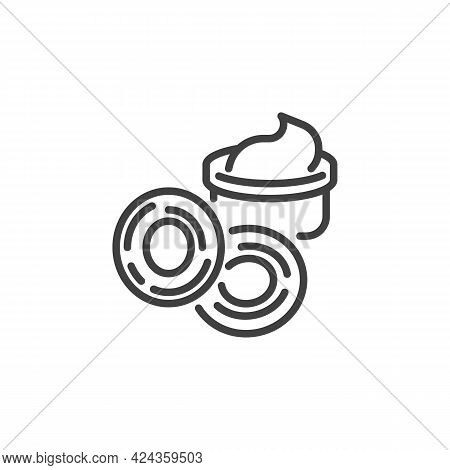 Fried Onion Rings Line Icon. Linear Style Sign For Mobile Concept And Web Design. Onion Rings And Sa