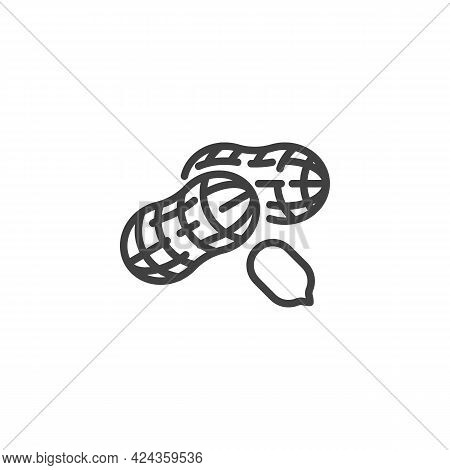 Peanut Nut Line Icon. Linear Style Sign For Mobile Concept And Web Design. Peanut Shell Outline Vect