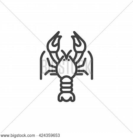 Crayfish Line Icon. Linear Style Sign For Mobile Concept And Web Design. Crayfish Seafood Outline Ve