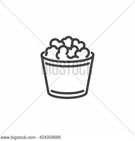 Popcorn Box Line Icon. Linear Style Sign For Mobile Concept And Web Design. Popcorn Basket Outline V