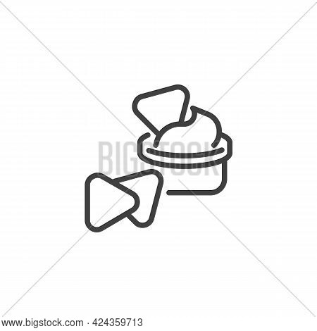 Nachos Chips With Cheese Dip Line Icon. Linear Style Sign For Mobile Concept And Web Design. Corn Ch