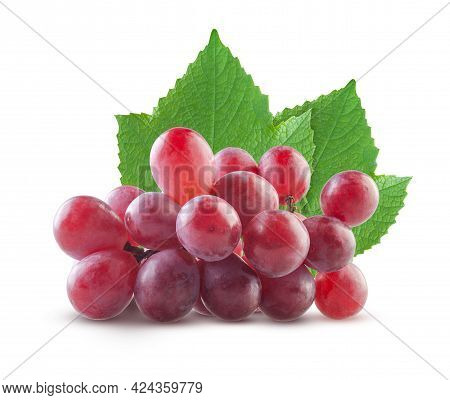 Pile Of Red Grapes With Leaves Isolated On White Background. High Resolution, Full Depth Of Field, A