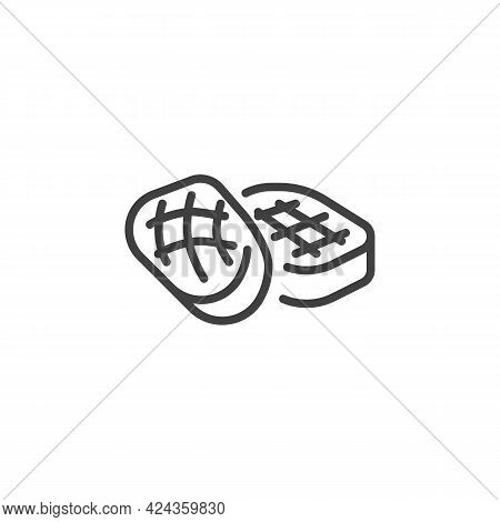 Bbq Steak Line Icon. Linear Style Sign For Mobile Concept And Web Design. Beef Steak Outline Vector