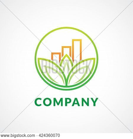 Mindful Saving Logo Design Concept In Monoline Style With Lotus Leaf Shape And A Bar Chart Inside A