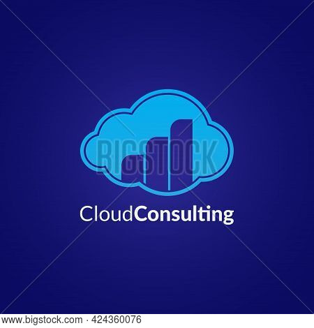 Cloud Consulting Logo Design Concept On Dark Blue Color Background. Suitable For Investment Company,