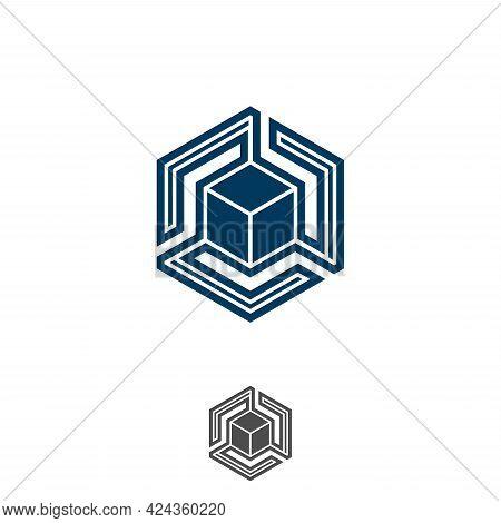 Hexagon Tech Symbol Design Vector Stock. Digital Box Cube Tech Symbol Design Template. Vector Illust