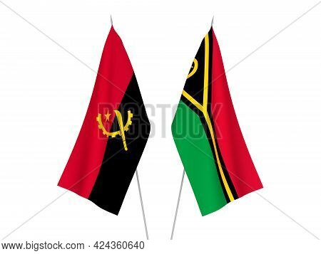 National Fabric Flags Of Angola And Republic Of Vanuatu Isolated On White Background. 3d Rendering I
