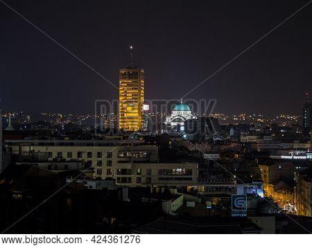 Belgarde, Serbia - June 13, 2015: Panorama Of Belgrade Skyline At Night With Beogradjanka Tower, Or