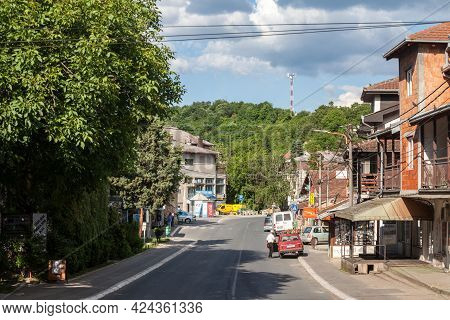 Barabevo, Serbia - May 30, 2021: Main Street Of The Center Of Barajevo With Shops And Businesses And