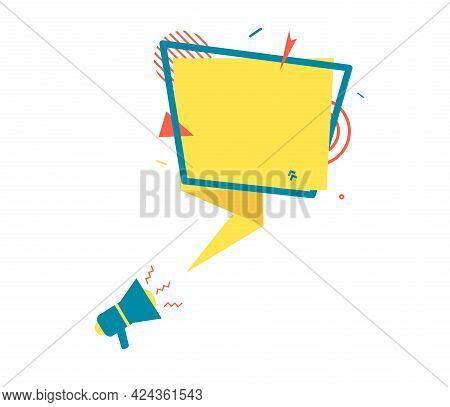 Yellow Speech Bubble And Megaphone In Paper Cut Art. Memphis Style Banner With Geometric Shapes. Col