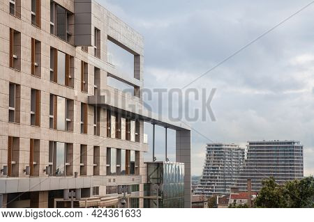 Belgarde, Serbia - June 9, 2018: Panorama Of Belgrade Skyline From B2 Office Building With The Const