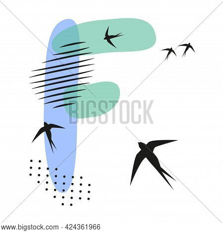 Minimalistic Pattern An Oriental Style In Form Of Letter F. Flock Of Swallows Flies. Abstract Object