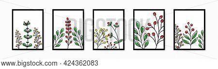 Botanical Wall Art Vector Set. Line Plants Posters Set. Line Art Poster Set With Plants. Leaves Line