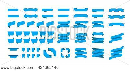 Blue Ribbon Banners Set. Big Ribbons Set. Ribbons Collection Isolated On White Background. Royal Rib