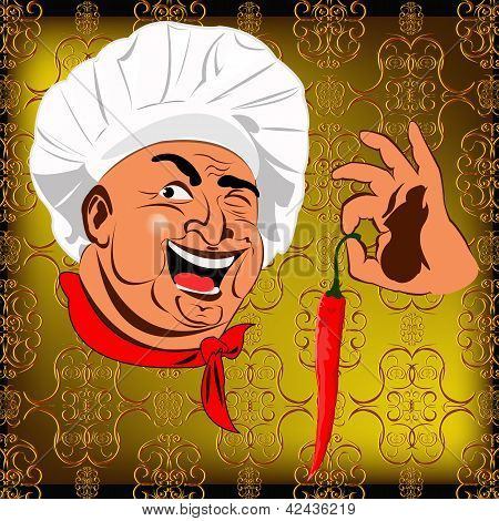 Eastern Chef and red pepper chilli on a abstract golden background