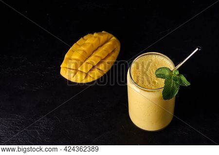 Lassi Drink Is Smoothies Or Milkshake On Dark Background. Traditional Indian And Pakistan Refreshing