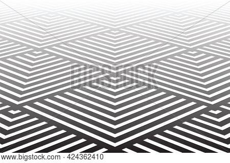 Abstract geometric textured background. Diminishing perspective view.
