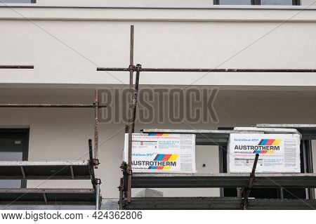 Belgrade, Serbia - March 31, 2021: Austrotherm Logo On Insulation Material On A Construction Site. A