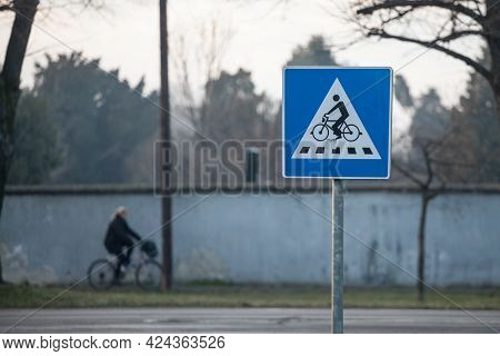 European Roadsign Indicating The Presence Of A Bicycle Crossing To Cars. Bike Xing Is A Major Safety