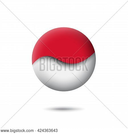 Indonesia Flag Icon In The Shape Of Circle. Abstract Waving Flag Of Indonesia. Paper Cut Style. Vect