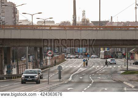 Belgrade, Serbia - February 28, 2021: Low Traffic On The Highway Of Bulevar Despota Stefana Boulevar