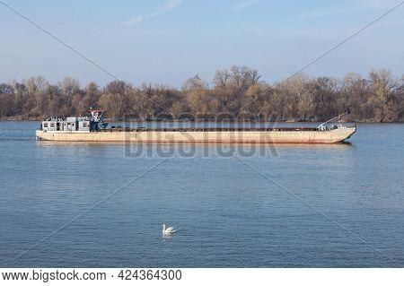 Cargo Ship, A Barge, Cruising On The Danube River In Belgrade, Serbia, In Belgrade, Carrying Constru