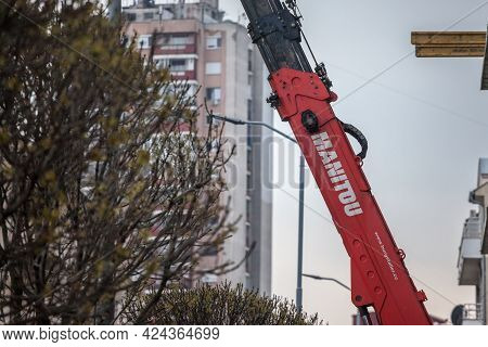 Belgrade, Serbia - April 18, 2021: Manitou Logo On Some Crane Machinery On A Construction Site In Be