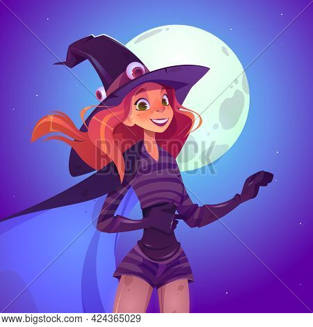 Witch Woman, Beautiful Redhead Girl In Spooky Hat With Smiling Face Cartoon Vector Illustration. Sex