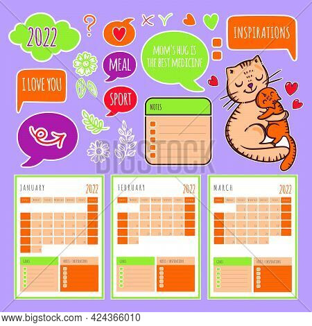 Cat Planner Winter 2022 Template Schedule And Collection With Design Elements For A Three Months For