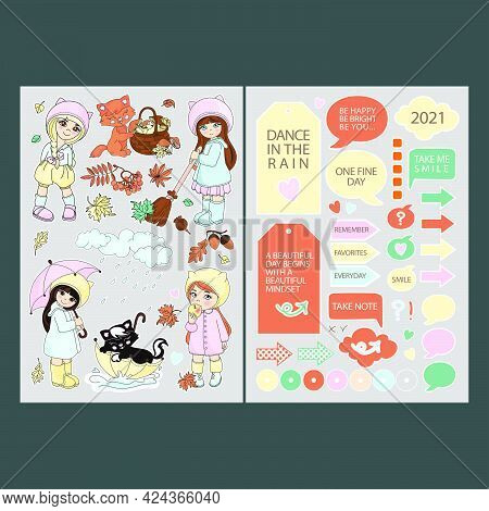 November Stickers For Planner Cartoon Girls And Autumn Nature Elements Printable And Plotter Cutting