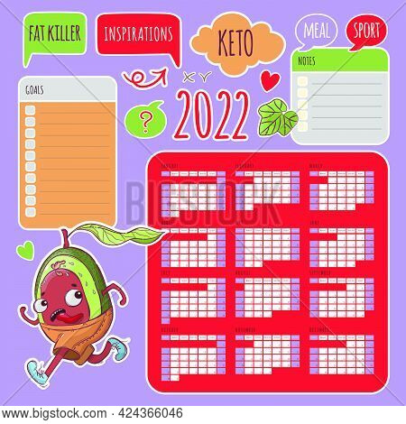 Keto Stickers Calendar 2022 Year Printable And Plotter Cutting Template Business Organizer Schedule