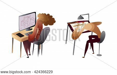 Creative Man And Woman Engaged In Handicraft Graphic Drawing At Computer And Making Draft Vector Set